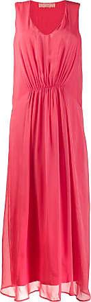 120% Lino long sleeveless ruched dress - Pink