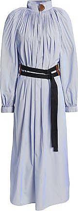 Tibi Tibi Woman Belted Pleated Striped Poplin Midi Dress Blue Size 8
