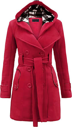 Noroze Womens Long Sleeve Belted Button Fleece Trench Coats Cerise