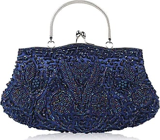 iShine Womens Evening Clutch Bag, Sequined Beaded Embroidered Evening Handbag Clutch Purse With Detachable Chain For Wedding Formal Cocktail Party, 1920S Vin