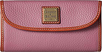 Dooney & Bourke Pebble Leather New SLGS Continental Clutch (Dark Mauve/Tan Trim) Clutch Handbags