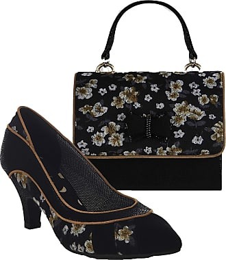 Ruby Shoo Womens Black Floral Daphne Pointed Court Shoes & Matching Casablanca Bag 40 UK 7