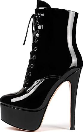 EDEFS Womens Stiletto Heel Ankle Boots Ladies Zip Up Platform Boots Lace Up Winter Booties Black EU38