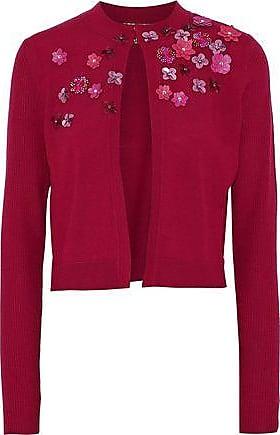 Elie Tahari Elie Tahari Woman Elissia Embellished Rib-paneled Merino Wool Cardigan Claret Size L