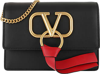 Valentino Cross Body Bags - V Ring Crossbod Bag Leather Black/Rouge Pur - black - Cross Body Bags for ladies
