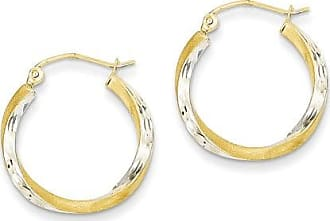 Quality Gold 14kt Yellow Gold and Rhodium Diamond-Cut 2.5mm Twisted Hoop Earrings