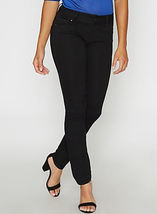 Alloy Apparel Emma Mid Rise Booty Enhancer Skinny Plus Size Jeans for Tall Women Black Denim 15/35 - Cotton