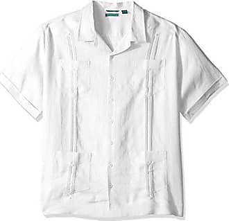dc05f1638 Cubavera Mens Big and Tall Short Sleeve 100% Linen Cuban Camp Guayabera  Shirt, Bright