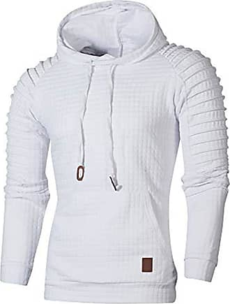 ZYUEER Mens Casual Tops Fashion Autumn Long Sleeve Plaid Hooded Hooded Outwear Sweatshirt (White, 2XL)