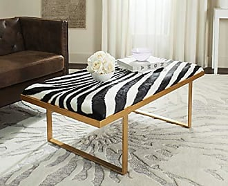 Safavieh Home Collection White and Gold Millie Zebra Loft Bench