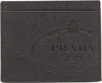 Prada Savoy Saffiano-leather Cardholder - Mens - Black White