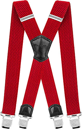 Decalen Mens Braces with Very Strong Metal Clips Wide 4 cm 1.5 inch Heavy Duty Suspenders One Size Fits All Men and Women Adjustable and Elastic X Form (Red)