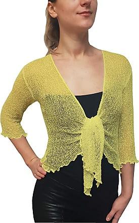 Mimosa Ladies Crochet Glitter or Plain Stretch Lace Fish Net Bali Tie at Waist Bolero Shrug Open Cardigan (One Size fits UK 8-16, Lemon)