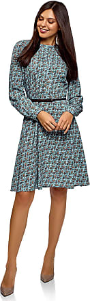 oodji Collection Womens Belted Viscose Dress, Blue, UK 16 / EU 46 / XXL