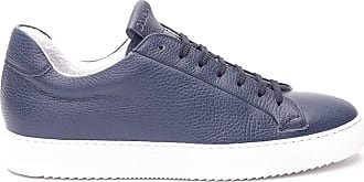 Doucal's Hammered Leather Sneakers, 44 Blue
