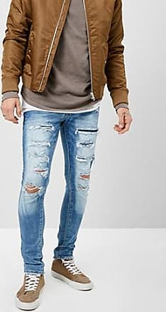 21 Men Jordan Craig Distressed Slim-Fit Jeans at Forever 21 Blue
