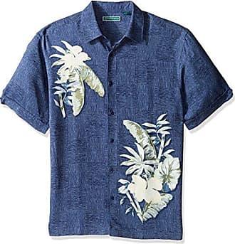 1e58bee4 Cubavera Mens Short Sleeve 100% Rayon Point-Collar Tropical Floral Print  Shirt, Leaf