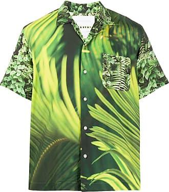 Fumito Ganryu Camisa com estampa de folhas - Verde