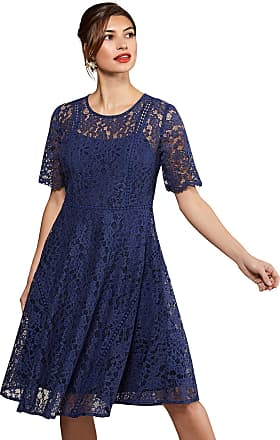 Yumi Navy Fit And Flare Lace Dress With Lace