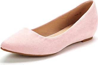 Dream Pairs Womens Jilian Slip On Pointed Toe Low Wedge Ballet Flats Pumps Shoes Pink Suede Size 6.5 US / 4.5 UK