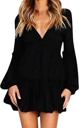 JERFER Fashion Sexy Casual Women Sexy Casual Ruffle Long Sleeve Mini Dress Evening Party Black White Autumn Dress