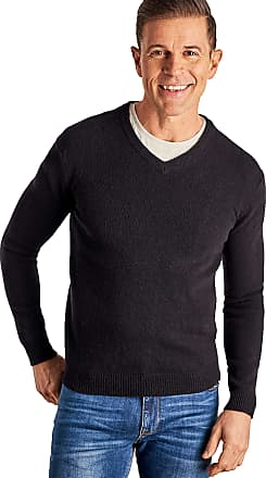 WoolOvers Mens Cashmere and Merino V Neck Jumper Black, XXL