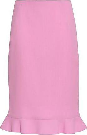 Oscar De La Renta Oscar De La Renta Woman Ruffle-trimmed Wool-crepe Skirt Bubblegum Size 10