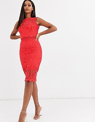 Lipsy Premium - Vestito midi in pizzo-Rosso