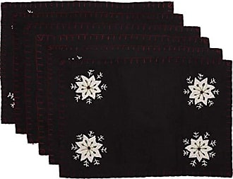 VHC Brands Holiday Tabletop & Kitchen-Christmas Snowflake Black Felt Embroidery Placemat Set of 6, 12 x 18 Oval