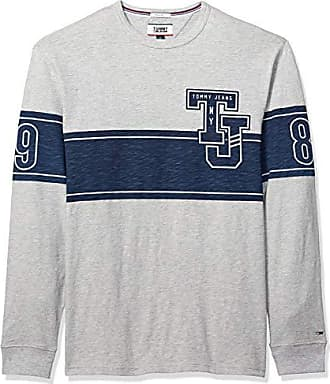 891ff9f1 Tommy Hilfiger Tommy Jeans Mens Long Sleeve T-Shirt, Light Grey Heather  Graphic,