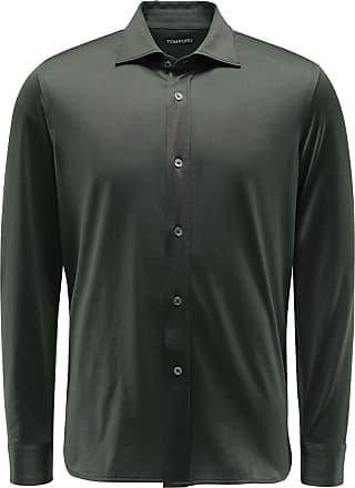 Tom Ford Jersey-Hemd Kent-Kragen oliv bei BRAUN Hamburg