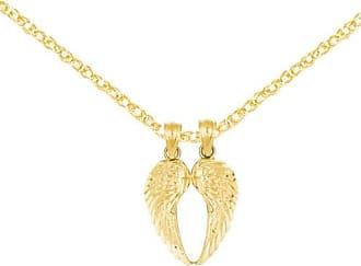 Quality Gold 14kt Yellow Gold Break Apart Diamond-Cut Wings Pendant