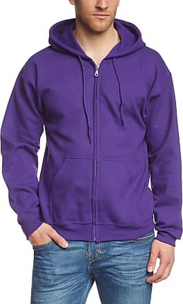 Gildan Mens Adult 50/50 Cotton/Poly. Full Zip Hooded Sewat Sweatshirt, Purple-Violett (Purple), X-Large