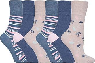 SockShop 6 pairs Ladies SockShop Cotton Gentle Grip UK 4-8, EUR 37-42 Socks - NEW variations (6 x RH170 Rainy Days)