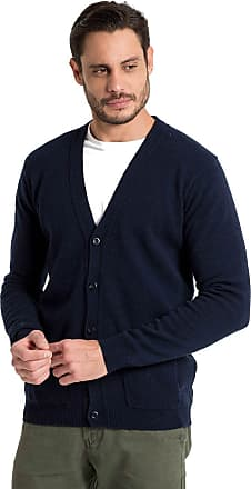 WoolOvers Mens Lambswool V Neck Knitted Cardigan Navy, M