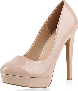 267d56a46fa2db napoli-fashion Damen Pumps High Heels Plateaupumps Lack Stiletto Elegante  Schuhe Nude Beige 37 Jennika