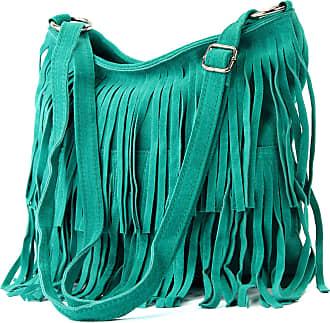 modamoda.de Ital. Leather bag Shoulderbag Shoulder bag Ladiesbag Wild leather T125, Colour:Turquoise_1