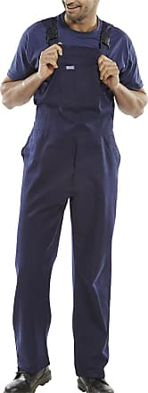 Islander Fashions Mens Cotton Drill Bib and Brace Adult Painter Dungarees Work Trousers Overalls Navy Waist 42 Inches