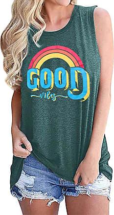 Dresswel Women Vest Tops Good Vibes Sleeveless T-Shirt Tank Top Rainbow Graphic Print Summer Tops