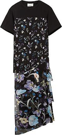 3.1 Phillip Lim 3.1 Phillip Lim Woman Cotton-jersey And Floral-print Crinkled Silk-chiffon Top Black Size XS