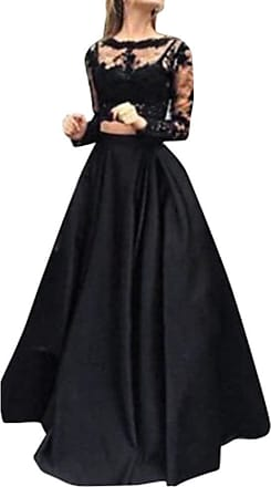 MRULIC Elagant Women Long Sleeves Formal Prom Long Skirt Evening Party Long Maxi Skirt Lace Blouse Set (Black,UK-10/CN-L)