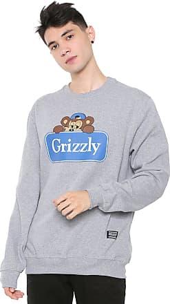 Grizzly Moletom Flanelado Fechado Grizzly Travel Bear Cinza
