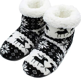 Not Applicable Clothing Winter Boots Slippers Christmas Coral Fleece Reindeer Print Non-Slip Sole Boots Slippers Hi-Top Slippers Home Indoor Shoes Gift for Men Women Black