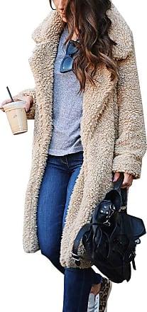 TOMWELL Womens Ladies Oversized Long Coat Elegant Long Sleeve Plush Jacket Parka Chic Open Front Cardigan Winter Warm Tops Fuzzy Fleece Outerwear Overcoat Apr