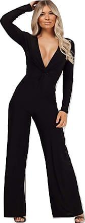 Momo & Ayat Fashions Ladies Twist Front Slinky Plunge Neck Jumpsuit UK Size 6-14 (Black, UK 8 (EUR 36))