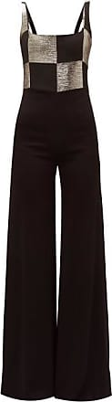 Galvan Ziggy Checkerboard-bodice Wide-leg Satin Jumpsuit - Womens - Black Gold
