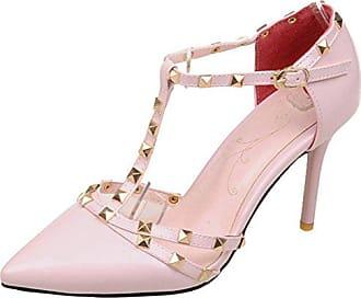 f3c6ca7fa564e9 Aiyoumei Damen T-spangen High Heels Lack Pumps mit Riemchen und Nieten  Schuhe für Hochzeit