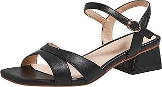 Mediffen Sandals Ankle Strap Womens Block Heels Open Toe Sandals Mid Heels Ladies Fashion Summer Sandals Comfort Party Sandals Black Size 38 Asian