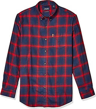 Green Blue Multi, Chaps Men/'s Classic Fit Long Sleeve Performance Flannel Shirt