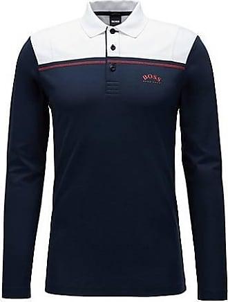 BOSS Long-sleeved slim-fit polo shirt in interlock cotton